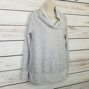 Lou & Grey Cowl Neck Heathered Gray Sweater Top